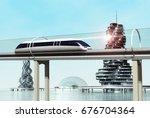 concept of magnetic levitation... | Shutterstock . vector #676704364