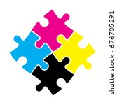 four jigsaw puzzle pieces in... | Shutterstock .eps vector #676705291