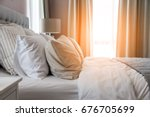 bed maid up with clean white... | Shutterstock . vector #676705699