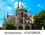 notre dame de paris cathedral ... | Shutterstock . vector #676708039