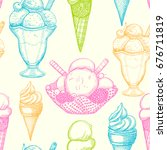 seamless pattern with ice cream....   Shutterstock .eps vector #676711819