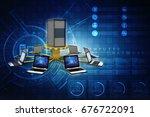 3d rendering computer network  | Shutterstock . vector #676722091