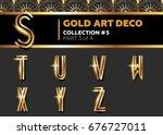 vector art deco 3d font.... | Shutterstock .eps vector #676727011