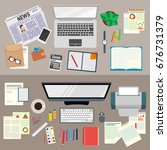 office. realistic workplace... | Shutterstock .eps vector #676731379