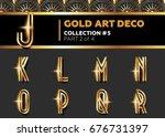 vector art deco 3d font.... | Shutterstock .eps vector #676731397