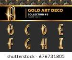 vector art deco 3d font.... | Shutterstock .eps vector #676731805