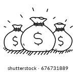 money bags   cartoon vector and ... | Shutterstock .eps vector #676731889