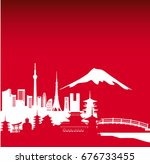 art and city of japan | Shutterstock .eps vector #676733455