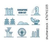singapore landmarks.   Shutterstock .eps vector #676741105