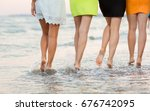 adorable long legged girls walk ... | Shutterstock . vector #676742095