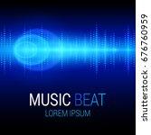 music beat vector. blue lights... | Shutterstock .eps vector #676760959