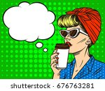 young beautiful in retro style... | Shutterstock .eps vector #676763281