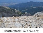 mountain walk to vihren peak.... | Shutterstock . vector #676763479