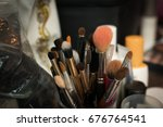 makeup brushes and tools for... | Shutterstock . vector #676764541