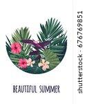 floral vertical postcard design ...   Shutterstock .eps vector #676769851