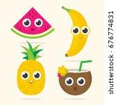 cute watermelon  banana ... | Shutterstock .eps vector #676774831