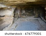 drepano cape. ancient tombs in... | Shutterstock . vector #676779301