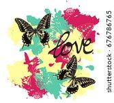 t shirt design with butterflies ... | Shutterstock . vector #676786765
