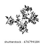 black  flower on a white... | Shutterstock . vector #676794184