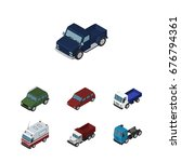 isometric car set of truck ...