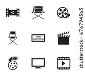 set of 9 editable filming icons.... | Shutterstock .eps vector #676794565