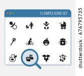 set of 12 editable child icons. ...