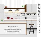 white minimal kitchen interior | Shutterstock .eps vector #676815397