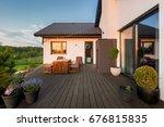 cozy villa patio with... | Shutterstock . vector #676815835