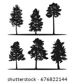 tree silhouettes   red cedar ... | Shutterstock . vector #676822144