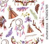 seamless pattern in boho style. ...   Shutterstock . vector #676826785
