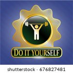 gold badge or emblem with... | Shutterstock .eps vector #676827481