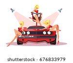 motor show with pretty girls   Shutterstock .eps vector #676833979