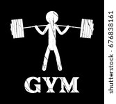 gym squat icon vector human... | Shutterstock .eps vector #676838161