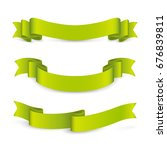 set of curved green ribbons.... | Shutterstock .eps vector #676839811