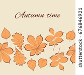 autumn leaves. vintage card.... | Shutterstock .eps vector #676846921