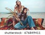 portrait of stylish hippie... | Shutterstock . vector #676849411