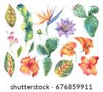 watercolor set of vintage... | Shutterstock . vector #676859911