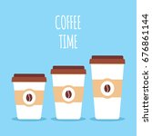 coffee paper cups in three... | Shutterstock .eps vector #676861144