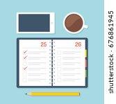 open moleskine planner with... | Shutterstock .eps vector #676861945