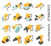 electric tools icons set.... | Shutterstock .eps vector #676862815