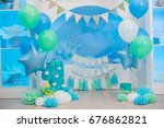 the decor of the first birthday   Shutterstock . vector #676862821