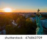 beautiful sunset view over riga ... | Shutterstock . vector #676863709
