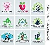 yoga logo set. nature fitness... | Shutterstock .eps vector #676867459