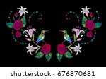 embroidery hummingbird  lily... | Shutterstock .eps vector #676870681