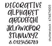 hand drawn alphabet. uppercase  ... | Shutterstock .eps vector #676874005
