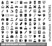 100 sociology icons set in... | Shutterstock .eps vector #676876081