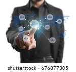 hand touch virtual icon social... | Shutterstock . vector #676877305
