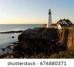 portland head lighthouse  cape... | Shutterstock . vector #676880371