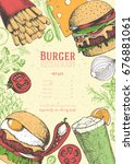colorful burgers and... | Shutterstock .eps vector #676881061