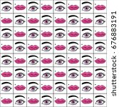 eyes and lips are hand drawn.... | Shutterstock .eps vector #676883191